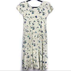 Vintage Floral Short Sleeve Midi Dress